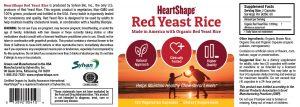 HeartShape Red Yeast Rice Supplement label